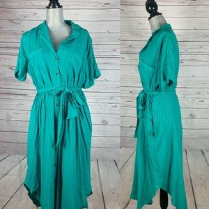 New Maeve Long Green Button Down Dress Size Large